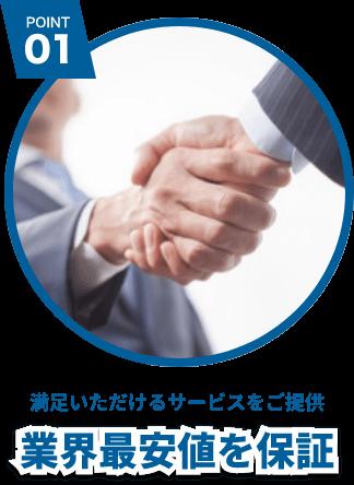 POINT 01 満足いただけるサービスをご提供 業界最安値を保証