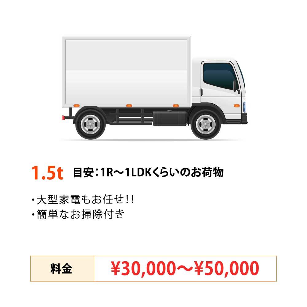 1トン目安 : 1R〜1LDKくらいのお荷物30,000円〜50,000円 作業費/運搬費代込み ・大型家電もおまかせ!!・簡単なお掃除付き