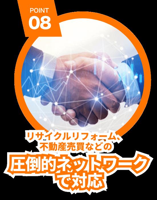 POINT 08 リサイクルリフォーム、不動産売買などの圧倒的ネットワークで対応